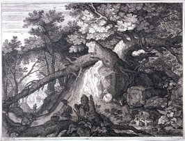 Waterfall with Shepherd and Four Goats, from set of Six Landscapes