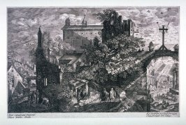 View of a Town with a Wooden Cross on an Arcade, from set of Eight Bohemian Landscapes