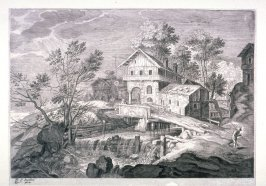 Inn and Houses Near a Bridge, from set of Six Landscapes from Tyrol
