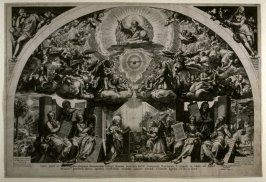 The Annunciation with God the Father, Angels and Sybils  , copy in reverse of the engraving by Cornelis Cort after the fresco by Federico Zuccaro in now destroyed Church of Santa Maria Annunziata in Rome
