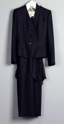 Woman's smoking ensemble (jacket, pocket square, blouse, trousers and belt)