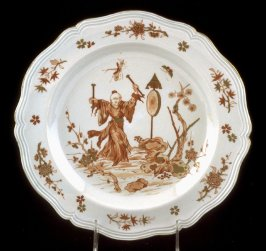 Plate, iron red Chinoiserie scene