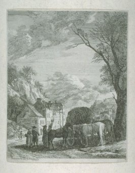 A mountain village scene with lady and children and men and houses.