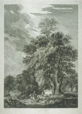 Landscape with a woman on a horse