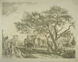 Village scene with lady and two children and a man and a horse
