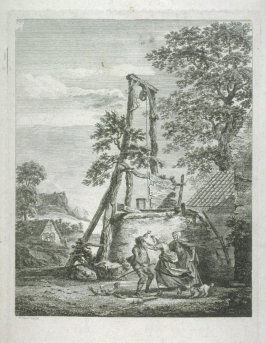 Landscape with well and domestic dispute