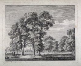 Landscape with people and deer by a pond