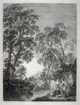 Two women with their wash along side a river