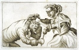Man and Woman Fighting, plate 3 from Tim Bobbin [pseudonym of John Collier], Human Passions Delineated (1773)