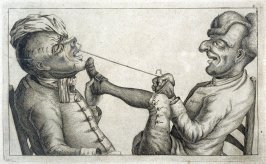 Pulling a Tooth No. 2, plate 6 from Tim Bobbin [pseudonym of John Collier], Human Passions Delineated (1773)