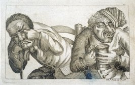 One Man Holds a Mug of Beer. Another Weeps, plate 14 from Tim Bobbin [pseudonym of John Collier], Human Passions Delineated, 1773