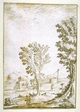 Landscape with Trees, a Well, and a Ruined Castle