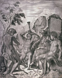 Apollo and Marsyas, plate III from a triptych after a painting attributed to Correggio