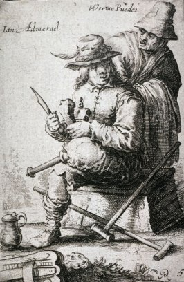 Hurdy Gurdy Player with Wooden Leg, from a series of ten peasants and beggars