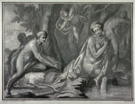 Satyrs surprising two nymphs at their bath, after Lorenzo da Bologna, from the series Disegni originali d'eccelenti pittori...