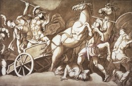 Battle Scene with a A Roman Soldier in a Chariot, after Giulio Romano, from the series Disegni originali d'eccelenti pittori...