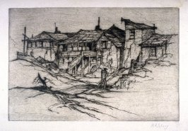 Four houses in landscape with man in front (untitled)