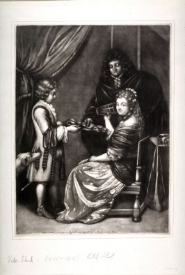 Woman seated, man standing, servant holding tray