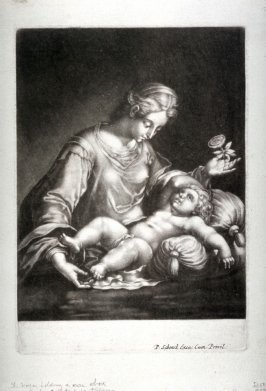 The Virgin holding a rose above the head of the infant Jesus