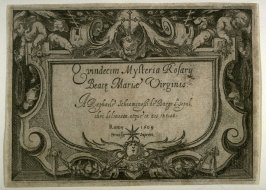 Title Page , first of sixteen plates from the set Quindecim Mysteria Rosarii Beatæ Mariæ Virginis (Mysteries of the Rosary)