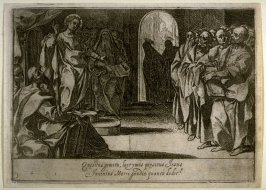 Christ among the Doctors, plate 5, sixth of sixteen plates from the set Quindecim Mysteria Rosarii Beatæ Mariæ Virginis (Mysteries of the Rosary)