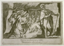 The Nativity, plate 3, fourth of sixteen plates from the set Quindecim Mysteria Rosarii Beatæ Mariæ Virginis (Mysteries of the Rosary)