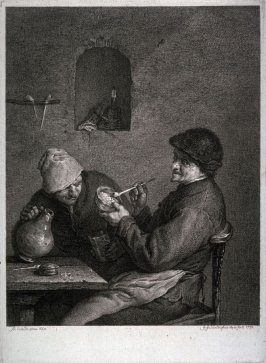 Drinker and smoker at table
