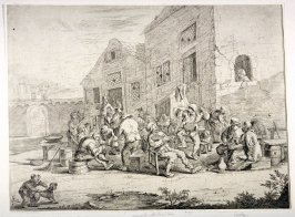 Peasants outside an inn drinking and dancing