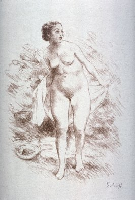 [Woman wrapping towel around body]