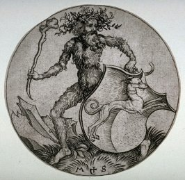 The Coat of Arms with a Greyhound, held by a Wild Man