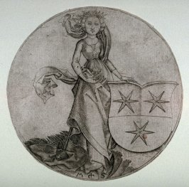 Coat of Arms with Three Stars, Held by a Lady