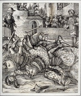 Theuerdanck Falling from his Horse During a Tournament, from Theuerdank (second edition; Augsburg: Hans Schoensperger, 1519)