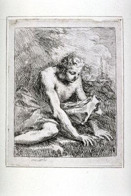 One of four Etchings: [Man seated on ground]