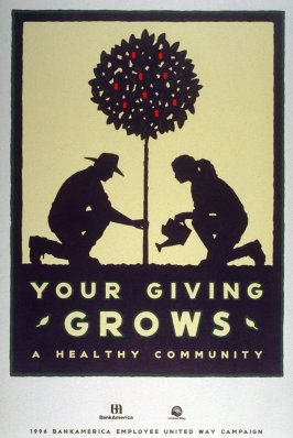 Your Giving Grows, poster for 1996 Bank America Employee United Way Campaign
