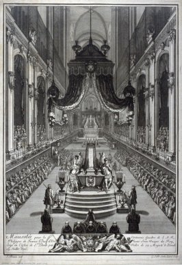 Mausoleum at the Funeral Ceremony of Philip of France, Duke of Orleans and only brother of the King in the Church of St. Denis, July 23, 1701