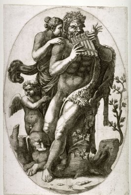 A Faun Playing Pipes with Nymph and a Putto, after Guilio Romano