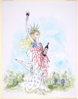 Untitled (Statue of Liberty Skipping through Vineyard with a Bottle of Clos du Val wine)