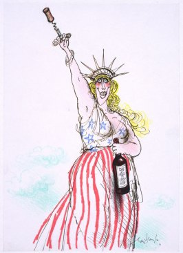 Right!, drawing for page 25 of the booklet, How To Open A Bottle of Wine (Clos du Val and Taltarni: 1983)