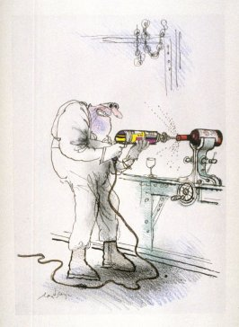 Getting Warmer (Wrong (Man with Electric Drill), drawing for page 23 of the booklet, How To Open A Bottle of Wine (Clos du Val and Taltarni: 1983)