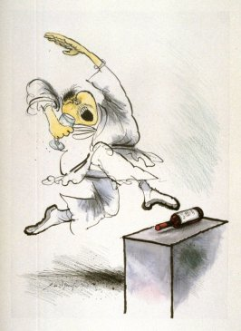 Wrong ( Karate Kick), drawing for page 15 of the booklet, How To Open A Bottle of Wine (Clos du Val and Taltarni: 1983)