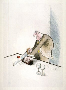Wrong (man with a saw), drawing for page 5 of the booklet, How To Open A Bottle of Wine (Clos du Val and Taltarni: 1983)