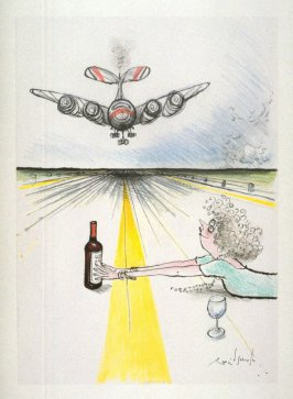 Oh no...(Woman on Airplane Runway), drawing for page 19 of the booklet, How To Open A Bottle of Wine (Clos du Val and Taltarni: 1983)