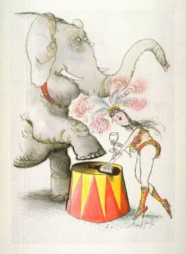 Wrong (Circus Performer and Elephant), drawing for page 13 of the booklet, How To Open A Bottle of Wine (Clos du Val and Taltarni: 1983)