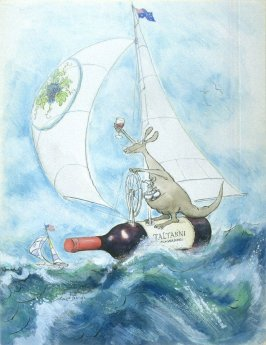 Untitled (Kangaroo Sailing on a Bottle of Wine), from the series, Wonderful World of Wine