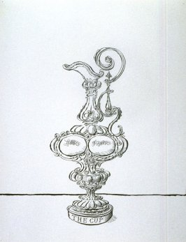 The Cup, drawing for the back cover of the book, Ozzie Winespeak (Moonambel, Victoria: Taltarni, 1986)
