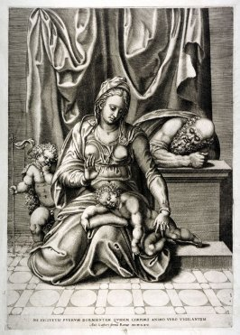 The Holy Family with the child Jesus asleep on the lap of the Mother