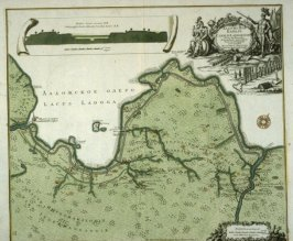 [Plan of canal system of Lace Ladoga with Schuesselburg in Russia]Map - Canalis Ladogenis nova delineation