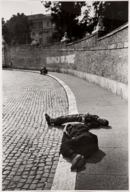Homeless Sleeping on Sidewalk, Naples, Italy