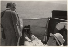 Truman Capote and the actor Robert Morley on the set of Beat the Devil, Ravello, Italy