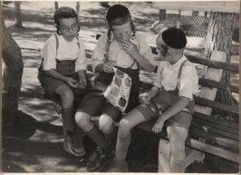 Three Jewish boys on a bench, Israel